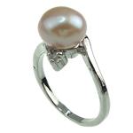 Pierścień z perłami słodkowodnymi, Perła naturalna słodkowodna, ze Mosiądz, Platerowane w kolorze platyny, różowy, 8-9mm, otwór:około 16-18mm, sprzedane przez PC