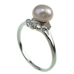 Pierścień z perłami słodkowodnymi, Perła naturalna słodkowodna, ze Mosiądz, Platerowane w kolorze platyny, fioletowy, 7-8mm, otwór:około 16-18mm, sprzedane przez PC