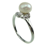 Pierścień z perłami słodkowodnymi, Perła naturalna słodkowodna, ze Mosiądz, Platerowane w kolorze platyny, 7-8mm, otwór:około 16-18mm, sprzedane przez PC