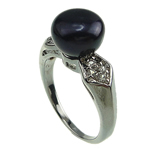 Freshwater Pearl Finger Ring, platinum color plated, 9-10mm, Hole:Approx 16-18mm, Sold By PC