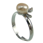 Freshwater Pearl Finger Ring, with Brass, platinum color plated, 7-8mm, Hole:Approx 18mm, US Ring Size:8