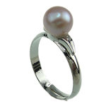 Freshwater Pearl Finger Ring, with Brass, platinum color plated, 7-8mm, Hole:Approx 16-18mm, Sold By PC