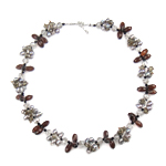 Crystal Freshwater Pearl Necklace, with Crystal & Glass Seed Beads, brass clasp, natural, 5-7mm, 13x7mm, Sold Per 17 Inch Strand