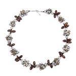 Kryształowy naszyjnik z perłami słodkowodnymi, Perła naturalna słodkowodna, ze Kryształ & Koraliki szklane, Mosiądz zapięcie, Naturalne, 5-7mm, 13x7mm, sprzedawane na 17 cal Strand