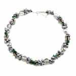 Kryształowy naszyjnik z perłami słodkowodnymi, Perła naturalna słodkowodna, ze Kryształ & Koraliki szklane, Mosiądz zapięcie, Owal, Naturalne, 121mm, 5-7mm, sprzedawane na 16.5 cal Strand