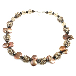 Crystal Freshwater Pearl Necklace, with Crystal & Glass Seed Beads, brass clasp, natural, 13-18mm, 12mm, Sold Per 18 Inch Strand