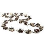 Crystal Freshwater Pearl Necklace, with Crystal & Glass Seed Beads & Iron, brass clasp, natural, 6x4mm, 12mm, Sold Per 28 Inch Strand