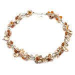 Crystal Freshwater Pearl Necklace, with Crystal, brass clasp, natural, 7-9mm, 12x10mm, Sold Per 17 Inch Strand