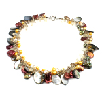 Crystal Freshwater Pearl Necklace, with Shell Paper & Crystal, brass clasp, natural, 13x22x4mm, 6-8mm, Sold Per 17 Inch Strand