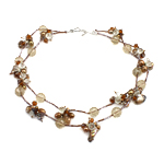 Crystal Freshwater Pearl Necklace, with Crystal & Glass Seed Beads, brass clasp, natural, 7-8mm, 12mm, Sold Per 17 Inch Strand