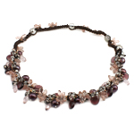Crystal Freshwater Pearl Necklace, with Wax Cord & Crystal, natural, 12x15x6mm, 10-11mm, Sold Per 20.5 Inch Strand