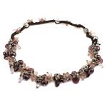 Kryształowy naszyjnik z perłami słodkowodnymi, Perła naturalna słodkowodna, ze Sznur woskowany & Kryształ, Naturalne, 12x15x6mm, 10-11mm, sprzedawane na 20.5 cal Strand