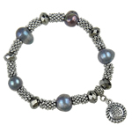 Freshwater Cultured Pearl Bracelet, Freshwater Pearl, with Crystal & Zinc Alloy, 10-12mm, Length:7 Inch, 10/