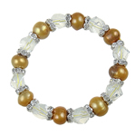 Freshwater Cultured Pearl Bracelet, Crystal, with Freshwater Pearl & Brass, with rhinestone, 9-11mm, Sold Per 7 Inch Strand