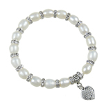 Freshwater Cultured Pearl Bracelet, Freshwater Pearl, with rhinestone brass spacer & Zinc Alloy, Heart, antique silver color plated, 7-10mm, Sold Per 6 Inch Strand