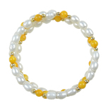 Freshwater Cultured Pearl Bracelet, Freshwater Pearl, with Jade & Brass, Rice, 6-7mm, Sold Per 7 Inch Strand