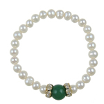 Freshwater Cultured Pearl Bracelet, Freshwater Pearl, with Jade & Rhinestone & Brass, Potato, 10mm, Sold Per 6 Inch Strand
