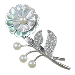 Freshwater Pearl Brooch, with Shell & Zinc Alloy, Flower, white, 41x71x6mm, Sold By PC