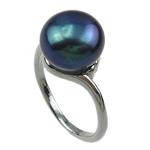 Pierścień z perłami słodkowodnymi, Perła naturalna słodkowodna, ze Mosiądz, ciemnoniebieski, 11-12mm, otwór:około 16-18mm, sprzedane przez PC