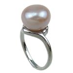 Pierścień z perłami słodkowodnymi, Perła naturalna słodkowodna, ze Mosiądz, różowy, 11-12mm, otwór:około 16-18mm, sprzedane przez PC