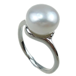 Freshwater Pearl Finger Ring, with Brass, white, 11-12mm, Hole:Approx 16-18mm, Sold By PC