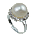 Freshwater Pearl Finger Ring, with Brass, white, 11-12mm, Hole:Approx 17-18mm, Sold By PC