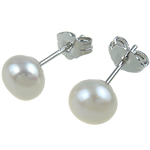 Freshwater Pearl Earrings, brass post pin, Round, white, 6-7mm, Sold By Pair