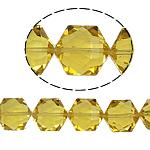 Hexagon kristalli helmiä, Kuusikulmio, Aurinko, 13x16x11mm, Reikä:N. 1.5mm, 20PC/Strand, Myyty Per 12 tuuma Strand
