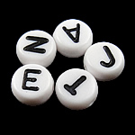 Alphabet Acrylic Beads, mixed, white, 4x7mm, Hole:Approx 0.5mm, 3600-3700PCs/Bag, Sold By Bag