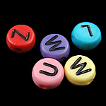 Alphabet Acrylic Beads, Coin, mixed colors, 4x7mm, Hole:Approx 0.5mm, 3600-3700PCs/Bag, Sold By Bag