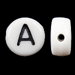 Alphabet Acrylic Beads, Coin, white, 4x7mm, Hole:Approx 0.5mm, 3600-3700PCs/Bag, Sold By Bag