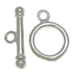 Brass Toggle Clasp, Donut, platinum color plated, single-strand, nickel, lead & cadmium free, 2.5x15.5mm, 10x10x1.6mm, Hole:Approx 1.7mm, 100Sets/Bag, Sold By Bag