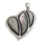 Natural Black Shell Pendants with Brass Heart nickel lead   cadmium free 34.50x39x4mm Hole:Approx 4x5mm