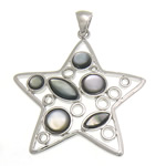 Natural Black Shell Pendants with Brass Star white nickel lead   cadmium free 43x45x4.50mm Hole:Approx 4.5x6mm