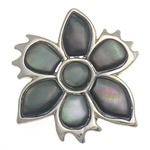 Natural Black Shell Pendants with Brass Flower black nickel lead   cadmium free 29x32x2mm Hole:Approx 5x9mm