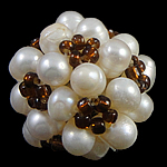 Ball Cluster Cultured Pearl Beads, Freshwater Pearl, with Glass Seed Beads, Round, 20mm, Sold By PC