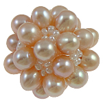 Ball Cluster Cultured Pearl Beads, Freshwater Pearl, with Glass Seed Beads, Round, pink, 28mm, Sold By PC