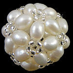 Ball Cluster Cultured Pearl Beads, Freshwater Pearl, with Glass Seed Beads, Round, white, 17mm, Sold By PC