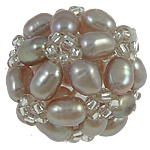 Ball Cluster Cultured Pearl Beads, Freshwater Pearl, with Glass Seed Beads, Round, purple, 17mm, Sold By PC