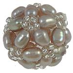 Koraliki z hodowlanych pereł w kształcie piłki, Perła naturalna słodkowodna, ze Koraliki szklane, Koło, fioletowy, 17mm, sprzedane przez PC