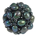 Ball Cluster Cultured Pearl Beads, Freshwater Pearl, with Glass Seed Beads, Round, black, 17mm, Sold By PC