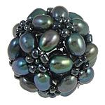 Koraliki z hodowlanych pereł w kształcie piłki, Perła naturalna słodkowodna, ze Koraliki szklane, Koło, czarny, 17mm, sprzedane przez PC