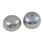 Half Drilled Cultured Freshwater Pearl Beads, Round, natural, imitation Indonesia style & half-drilled, silver-grey, Grade AA, 16-19mm, Hole:Approx 0.8mm, 10Pairs/Bag, Sold By Bag