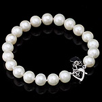 Freshwater Cultured Pearl Bracelet, Freshwater Pearl, brass clasp, Grade AAA, 9-10mm, Sold Per 7.5 Inch Strand