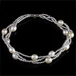 Freshwater Cultured Pearl Bracelet, Glass Seed Beads, with Freshwater Pearl, iron screw clasp, 3-strand, 5-6mm, Sold Per 7.5 Inch Strand
