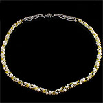 Crystal Freshwater Pearl Necklace, with Crystal & Glass Seed Beads, iron clasp, Round, natural, 4-5mm, Sold Per 22 Inch Strand
