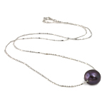 Freshwater Pearl Brass Necklace, with Brass, Flat Round, natural, black, 10-11mm, Sold Per 17 Inch Strand