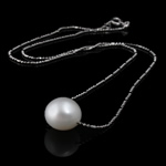 Freshwater Pearl Brass Necklace, with Brass, Flat Round, natural, white, 10-11mm, Sold Per 17 Inch Strand