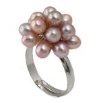 Pierścień z perłami słodkowodnymi, Perła naturalna słodkowodna, ze Mosiądz, fioletowy, 4-5mm, 18-19mm, rozmiar:8, sprzedane przez PC