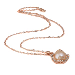 Freshwater Pearl Brass Necklace, with Rhinestone & Brass, Round, natural, pink, 18x26mm, 12-13mm, Sold Per 17 Inch Strand